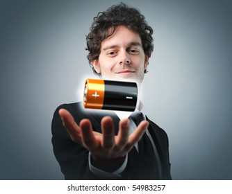 man with battery in his hand