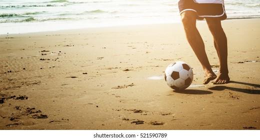 Man Beach Summer Holiday Vacation Football