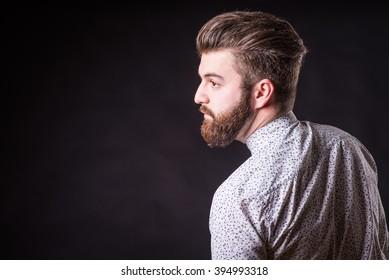 man with beard in suit, homogeneous