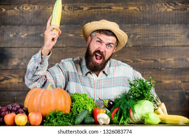 Man with beard wooden background. Become organic farmer. Farmer with organic homegrown vegetables. Grow organic crops. Community gardens and farms. Homegrown organic food. Healthy lifestyle.