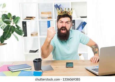 Man bearded businessman wear golden crown. Top manager head office. Boss enjoying glory. Head office and ceo concept. Chief executive officer. Issuing decree. Office is my kingdom. King of office.