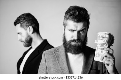 Man bearded fraudster hold cash money while victim stand sad background. While no one watching. How recognize scam and protect yourself. Dishonest scheme. Scam and fraud concept. Scam and deception.