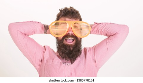 Man bearded guy wear giant louvered sunglasses. Sunglasses vacation attribute and stylish accessory. Eye protection sunglasses summer accessory. Hipster wear shutter shades extremely big sunglasses.