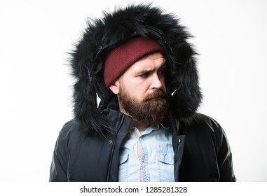26fcc06e8264c Man bearded stand warm jacket parka isolated on white background. Hipster  winter fashion. Guy