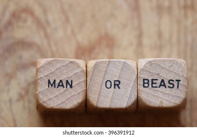 """man or beast"" printed on three wood dice against a wood grain background open for copy"