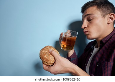 man with beer, burger