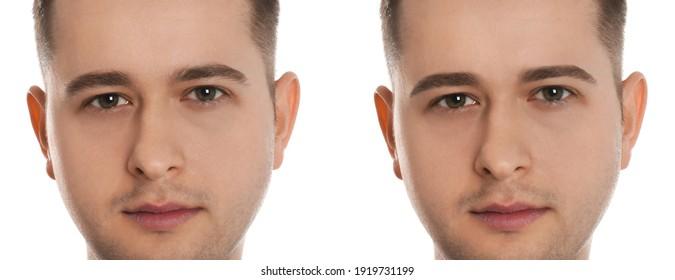 Mann vor und nach Augenbrauen Modellierung auf weißem Hintergrund, Collage. Banner-Design