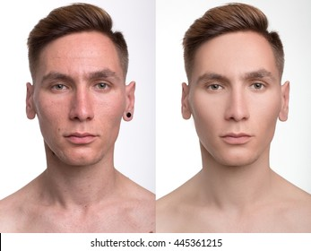 man before and after retouch. studio shot.