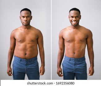 Man Before And After Weight Loss On Gray Background