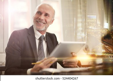Man being cheerful at work