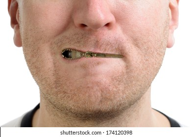 a man being silenced with a zip on the lips isolated