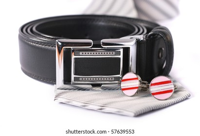 Man Belt with Cuff Links and Grey Tie