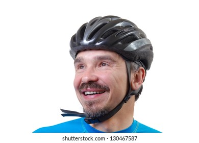 Man in bicycle helmet. Studio shot isolated on white background.