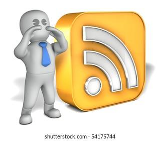 A man with a big RSS logo