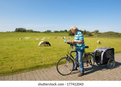 Man with bike and dog car looking at the road map