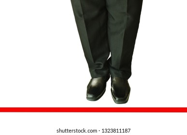 man in black business pant and lather shoe with red line to transcend on white background