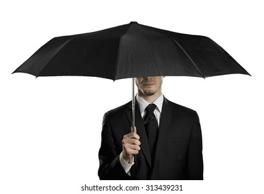 man in black costume with black umbrella,  special-service agent , on white background, isolated