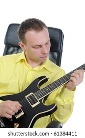 man with a black guitar. Isolated on white