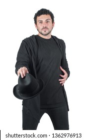 Man in black with his hat, isolated on white