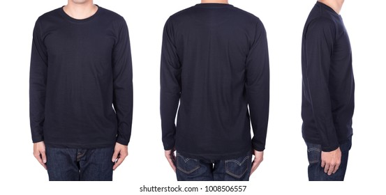 man in black long sleeve t-shirt isolated on a white background