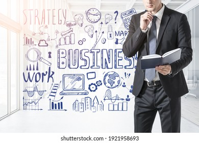 Man in black office suit with notes in hands, strategy plan on a wall, office room, doodle sketch set. Business finance chart graph, success achieving