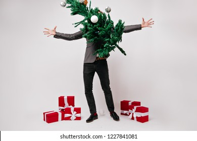 Man in black pants having fun during studio new year photoshoot. Indoor portrait of carefree guy posing with green christmas tree decorated with balls.
