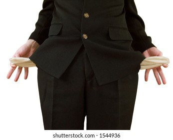 man in black suit, holding his pockets inside-out