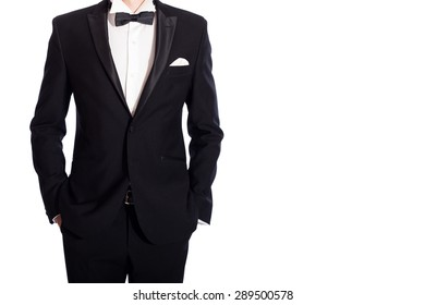 man in black  suit on white background