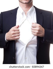 Man in black suit opening his white shirt revealing white copy-space for your text or images