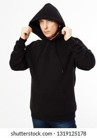 man in a black sweatshirt with a hood on his head is isolated on a white background