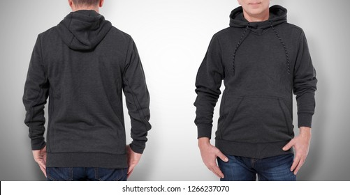 Man in black sweatshirt, black hoodies front and rear isolated on grey background. mock up