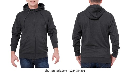 Man in black sweatshirt, black hoodies front and rear isolated on white background. mock up