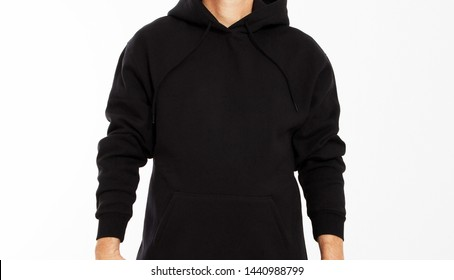 man in black sweatshirt on white background - male hoodie mock up, black hood blank