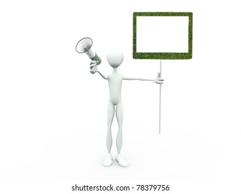 man with blank billboard scream at megaphone isolated on white background