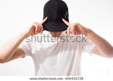 810f21a9d529a Man Blank Black Baseball Cap Snapback Stock Photo (Edit Now ...