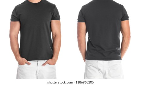 Man in blank black t-shirt on white background, front and back views. Mock up for design