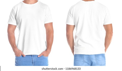 Man in blank t-shirt on white background, front and back views. Mock up for design