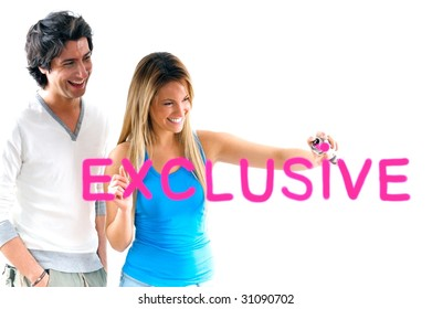 man and blond girl writing exclusive prices