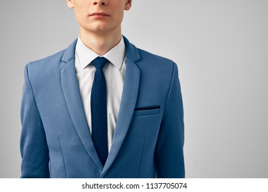 man in blue jacket work business