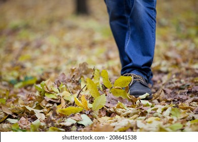 Man in blue jeans walking on fallen leaves