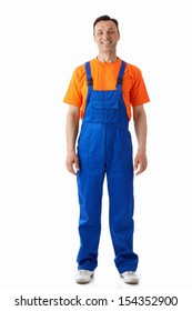 Man in blue overalls on a white background