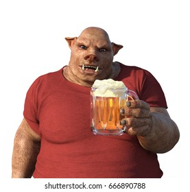 A man with a boar's head enjoys a a mug of beer - 3d render.
