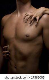 man body and woman nail