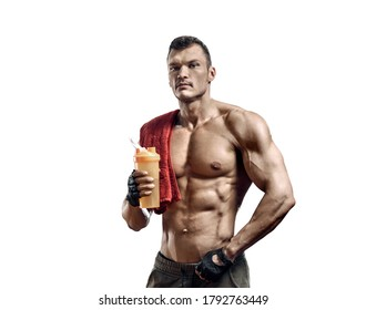 man bodybuilder hold shaker with sportive nutrition - protein of shaker on white background, isolated. Gym conncept