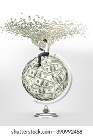 Man with book sitting on terrestrial globe made of dollars, dollar tornado over him. Concept of studying.