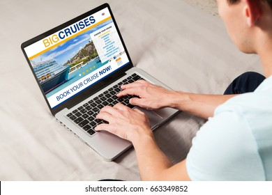 Man booking cruise travel by internet with a laptop at home.