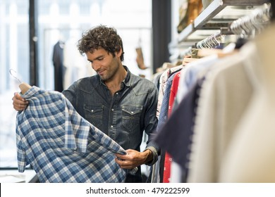 Man bought shirt in a fashionable shops