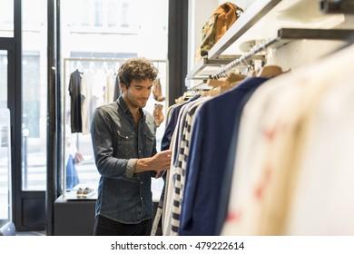 Man bought shirt in a fashionable shops