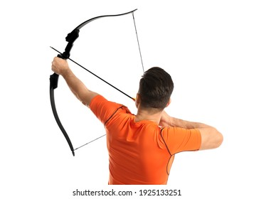 Man with bow and arrow practicing archery on white background, back view