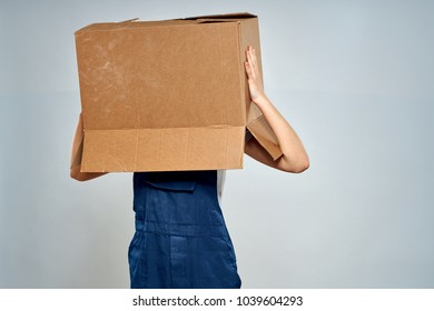 man with a box on his head
